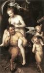 Dirck de Quade van Ravensteyn: Venuše jedoucí na satyrovi (1602-08), olej na plátně