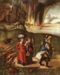 Albrecht Dürer: Lot prchá se svými dcerami ze Sodomy (okolo 1498)